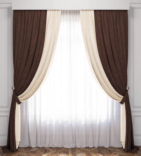Комплект штор Лату сливочный-венге