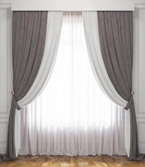 Комплект штор Латур бело-серый