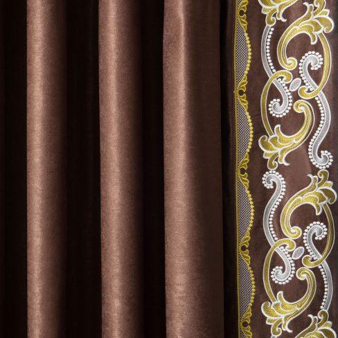Комплект штор с вышивкой Валери коричневый