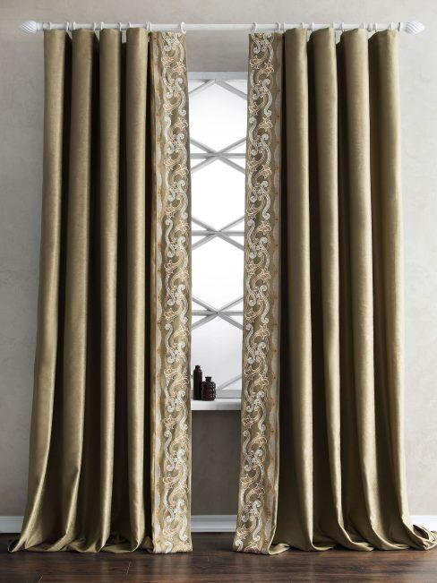 Комплект штор с вышивкой Валери зеленый