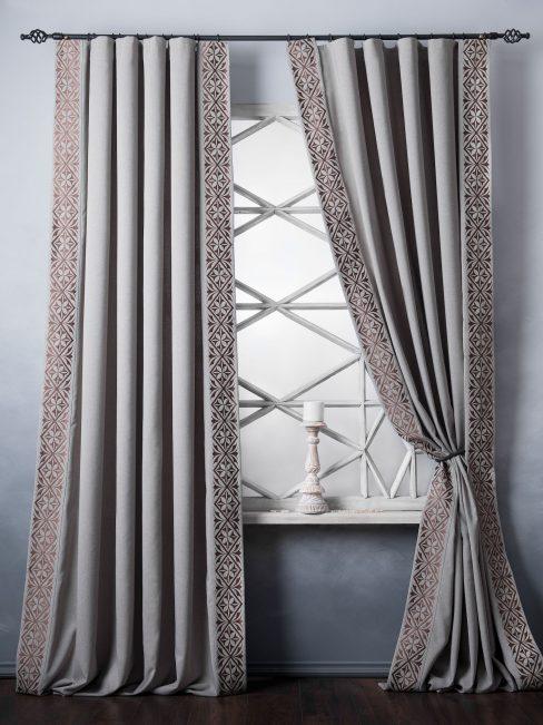 Комплект штор с вышивкой Дюпон бежево-серый
