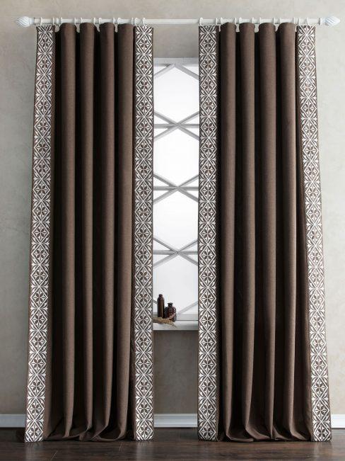 Комплект штор с вышивкой Дюпон коричневый