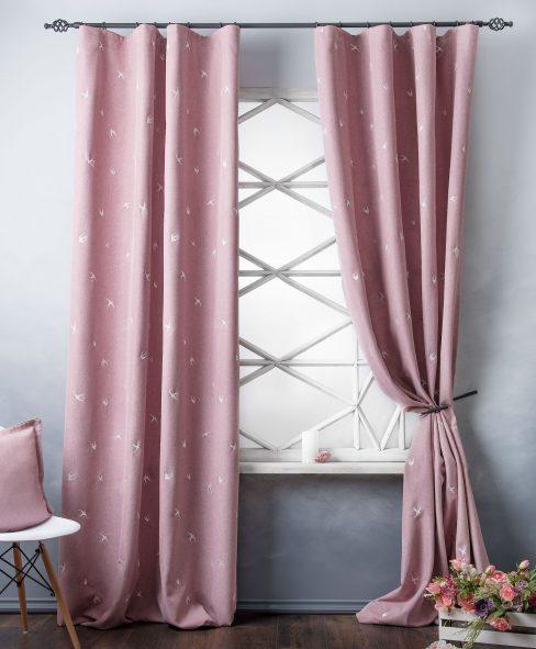 Комплект штор с вышивкой Прайм розовый