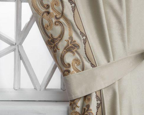 Комплект штор с вышивкой Валери бежевый