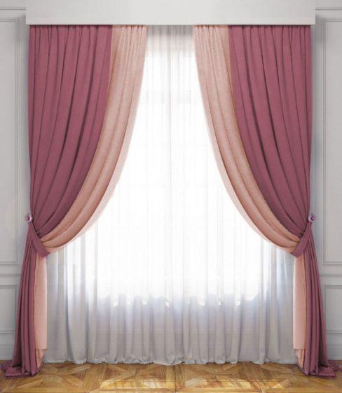 Комплект штор Латур розовый-светло-розовый