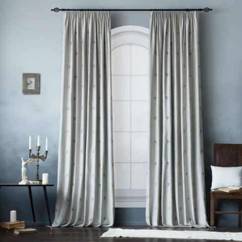 Комплект штор с вышивкой Лилас серый