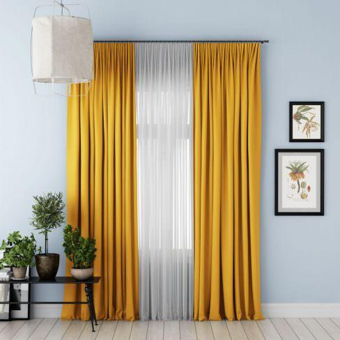 Комплект штор Блэкаут желтый
