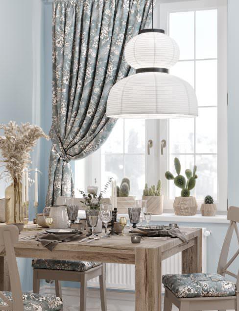 Штора для кухни Птички серо-голубой