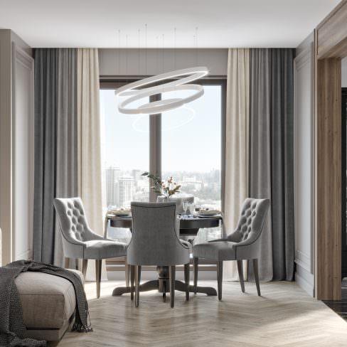 Комплект штор Трио серый-светло-серый-стальной