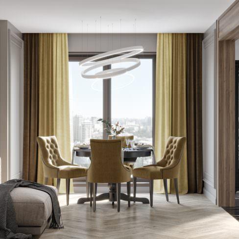 Комплект штор Трио коричневый-песочный-кремовый