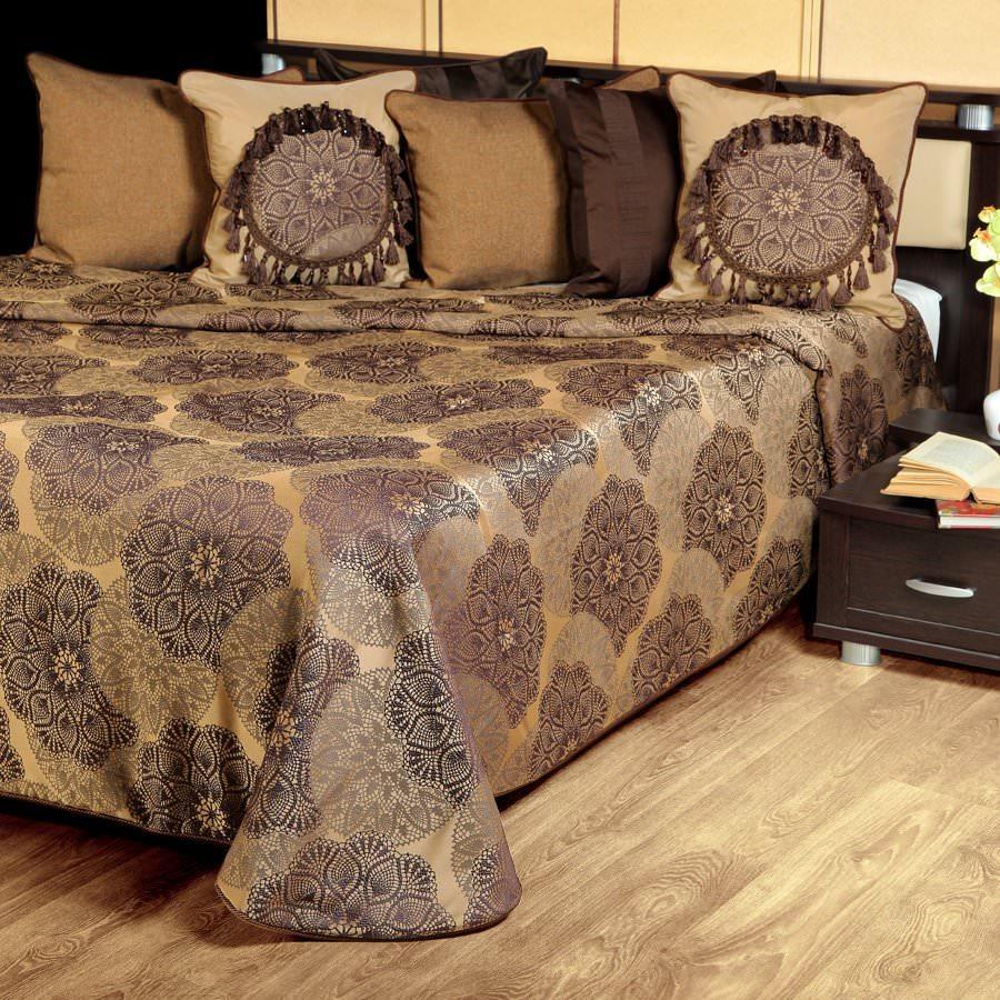Покрывало на кровать Жаклин (коричневый) желтое покрывало на кровать