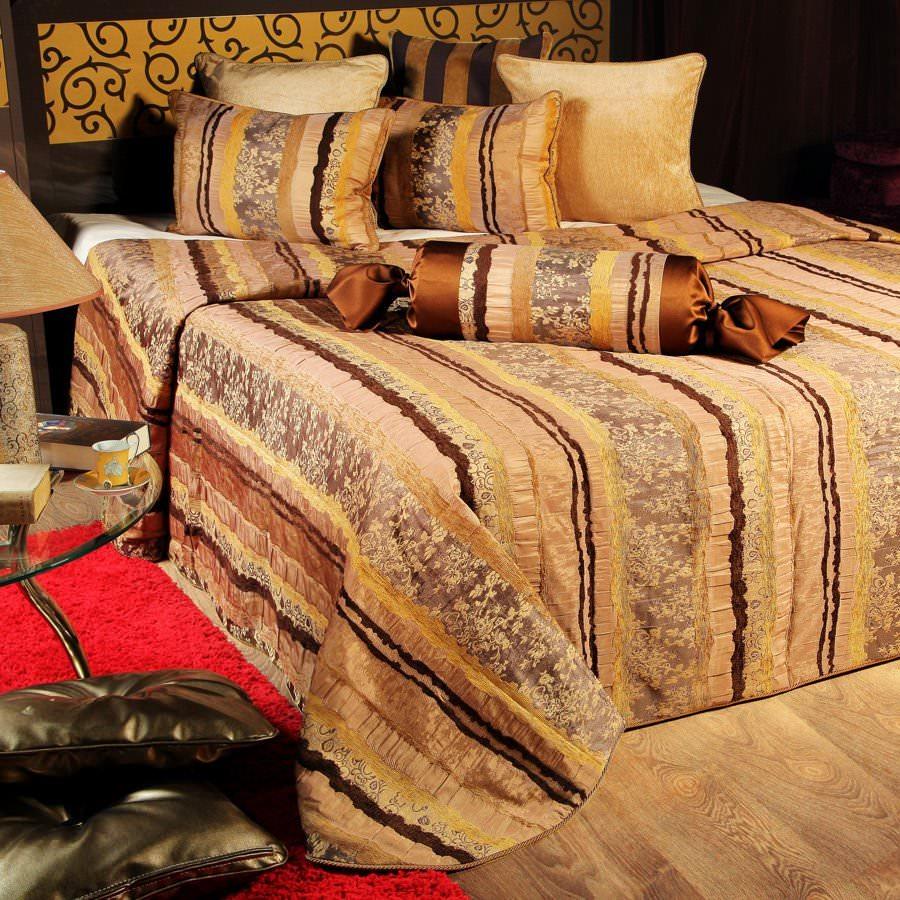 Покрывало на кровать Мадрид (коричневый) желтое покрывало на кровать