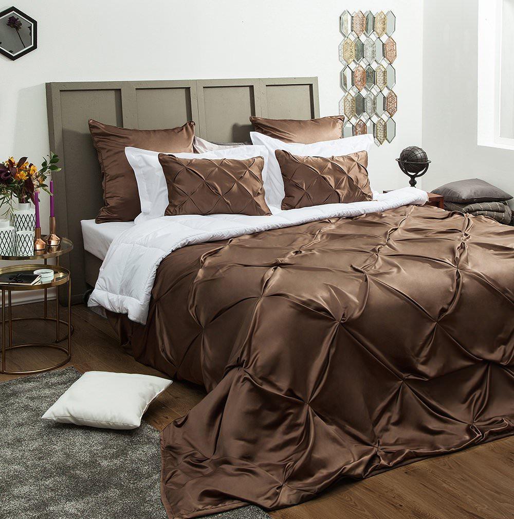 Покрывало на кровать Шанти (коричневый) желтое покрывало на кровать