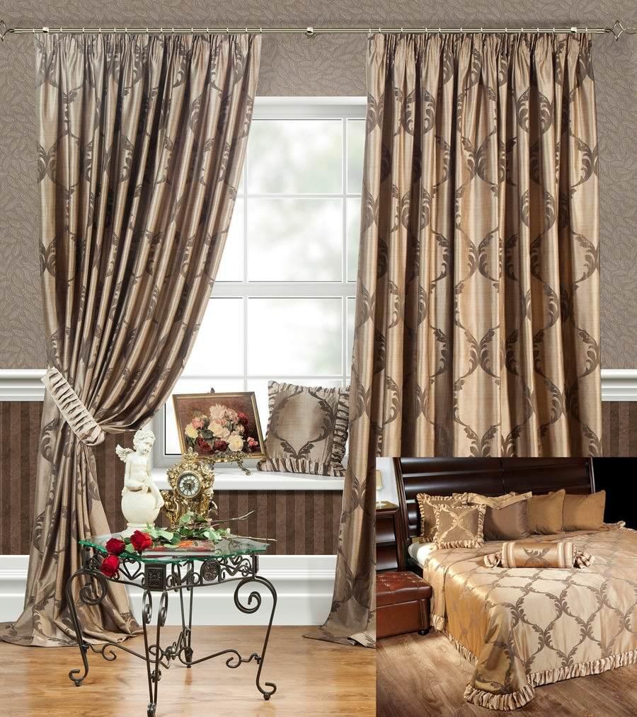Купить со скидкой Шторы и покрывало для спальни Лувр (коричневый)