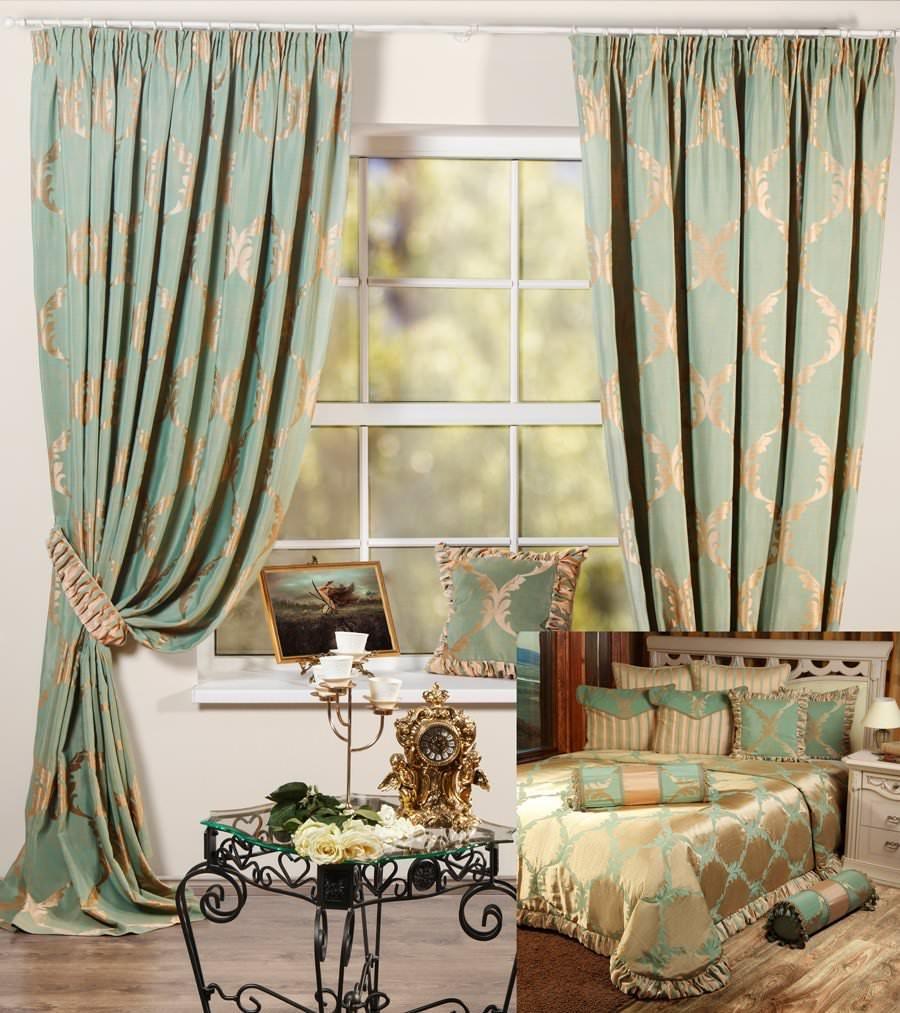 шторы и покрывало для спальни лувр зеленый купить в интернет