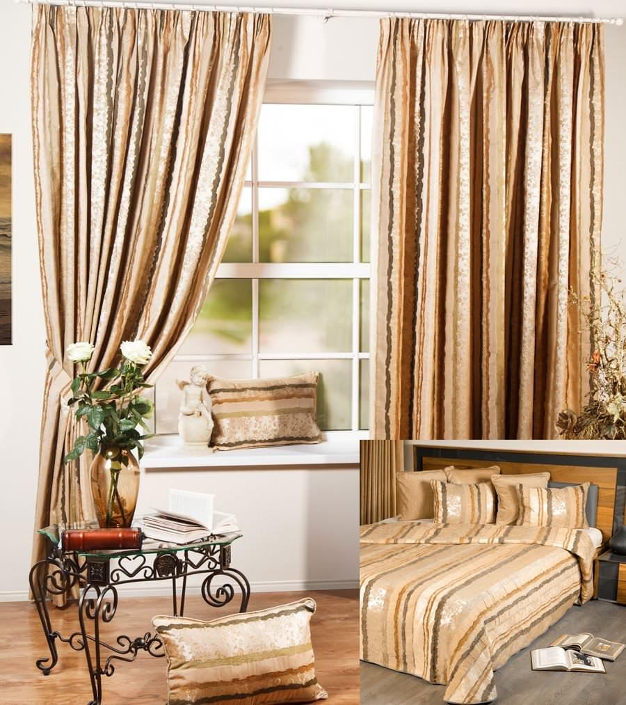 Шторы и покрывало для спальни Мадрид (зеленый)