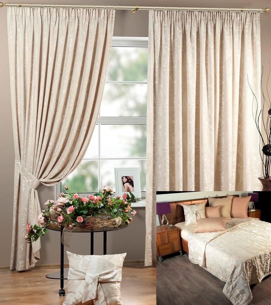 Шторы и покрывало для спальни Олимпия (светло-бежевый)