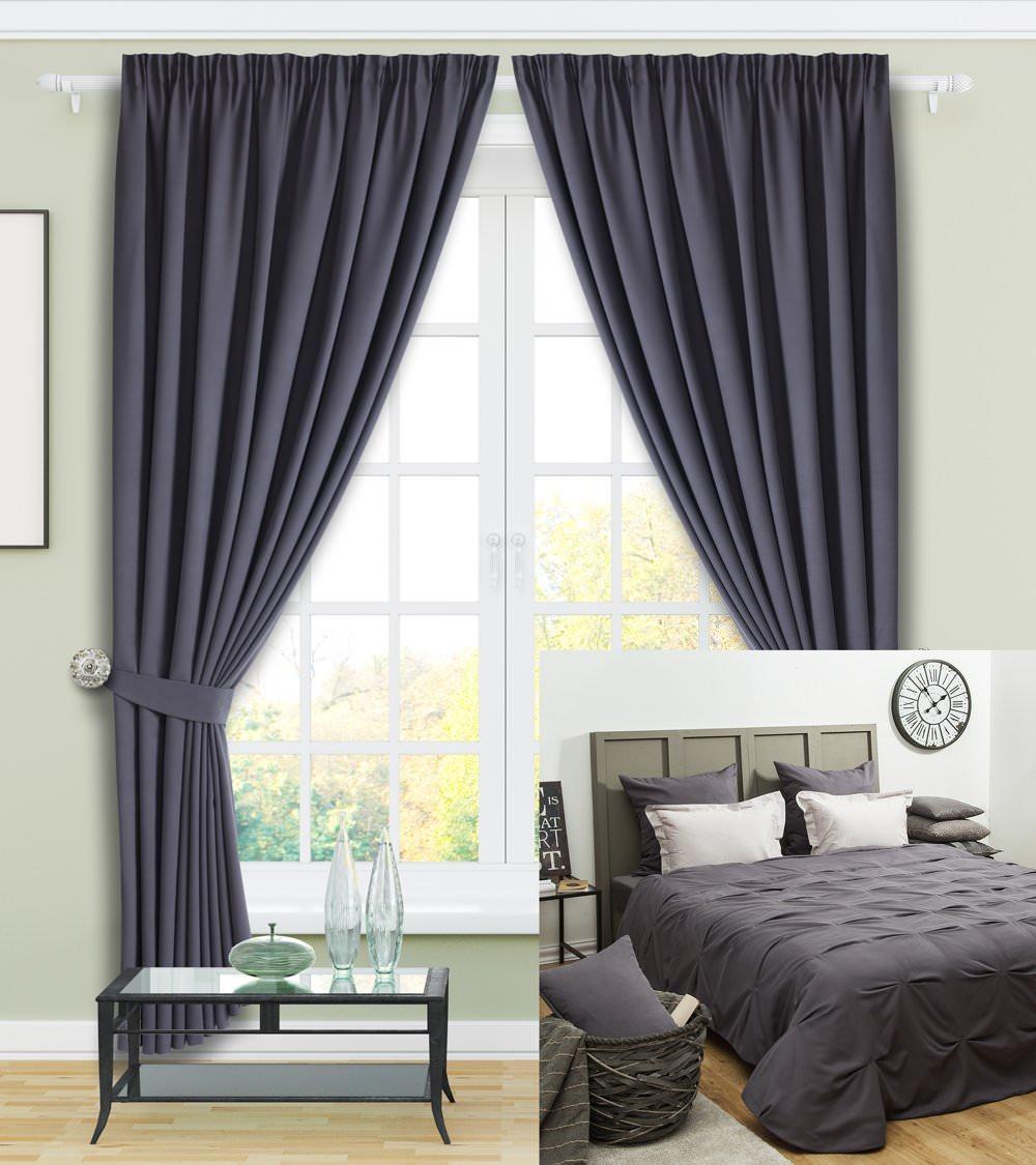 Шторы и покрывало для спальни Наоми (серый)
