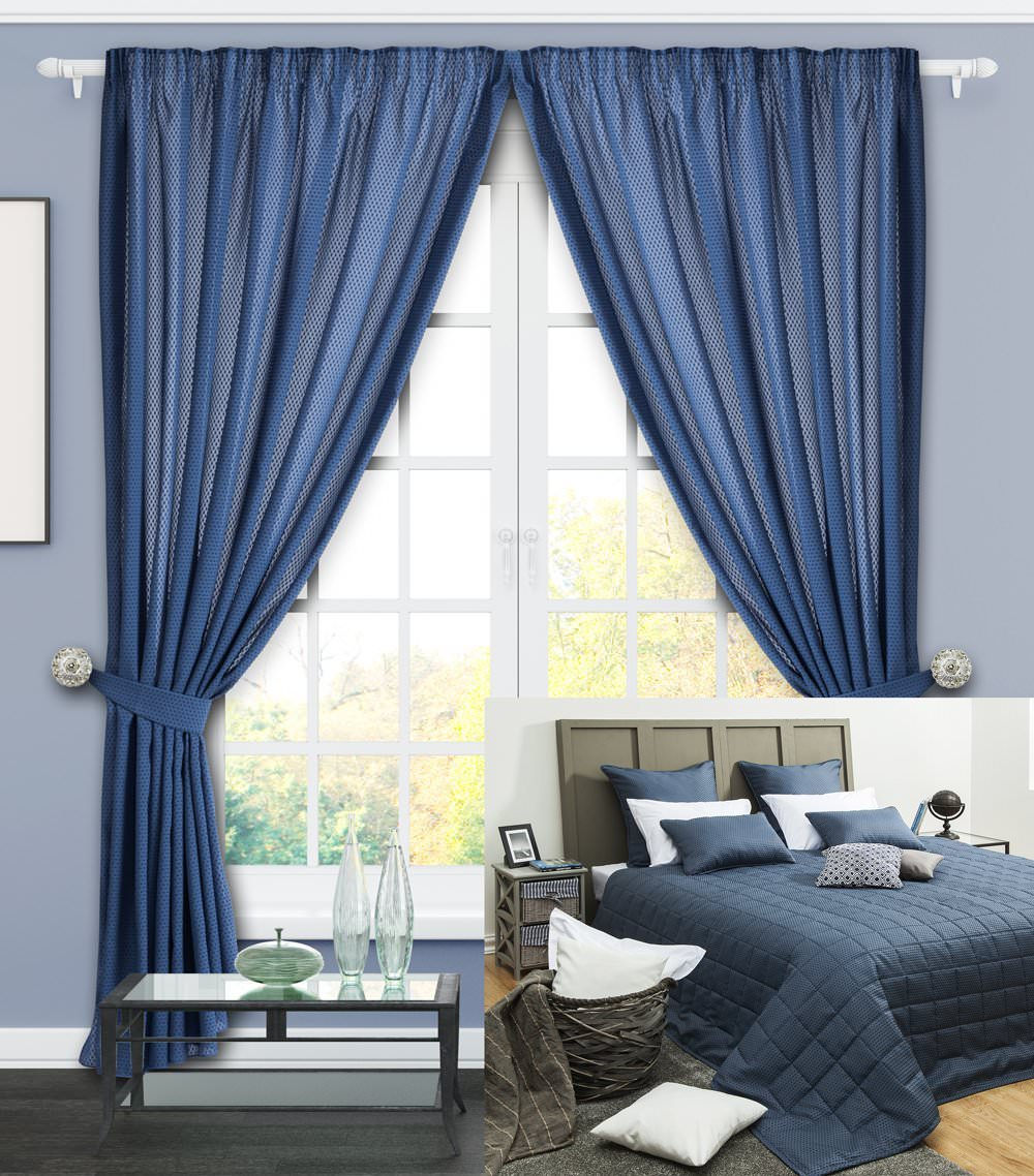 шторы и покрывало для спальни мануал синий купить в интернет