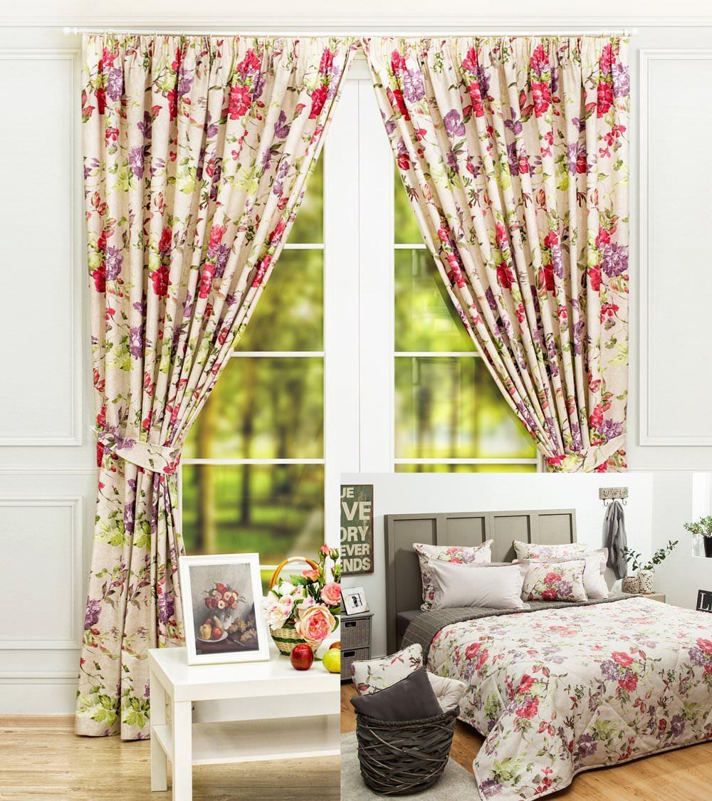 Шторы и покрывало для спальни Саммер (розовый)