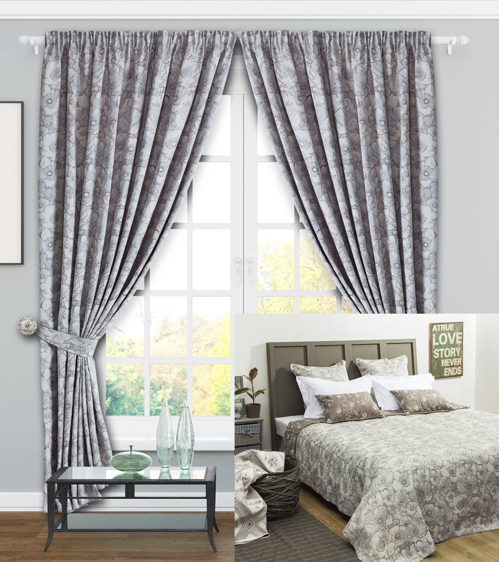 шторы и покрывало для спальни анита серый купить в интернет